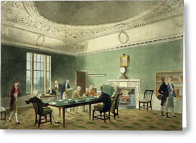 Meetings Greeting Cards - Board Of Trade, From Ackermanns Greeting Card by T. & Pugin, A.C. Rowlandson