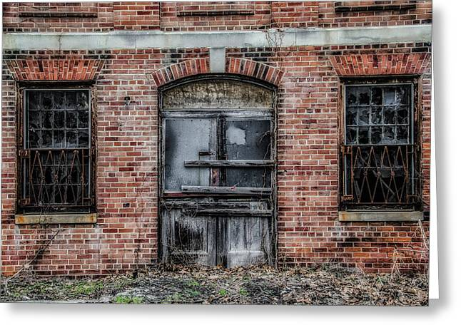 State Hospital Greeting Cards - Boarded Up Door - Norristown State Hospital Greeting Card by Bill Cannon