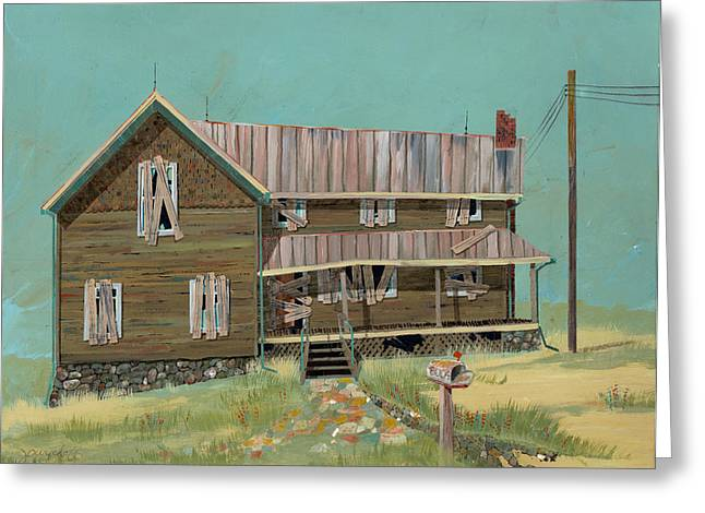 Run Down Paintings Greeting Cards - Boarded Up House Greeting Card by John Wyckoff