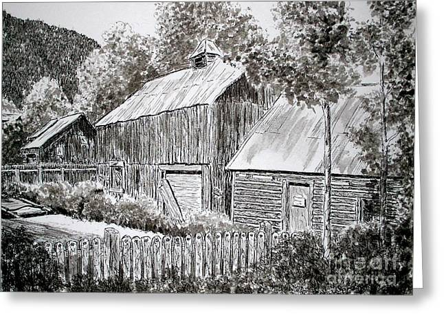 Old Barn Drawing Greeting Cards - Boarded Up Greeting Card by Judy Sprague