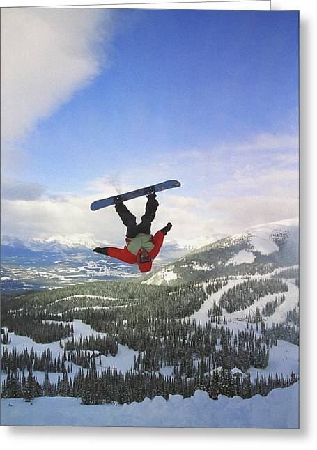 Snow Boarder Greeting Cards - Boarder Upside Down In Air Greeting Card by Carson Ganci