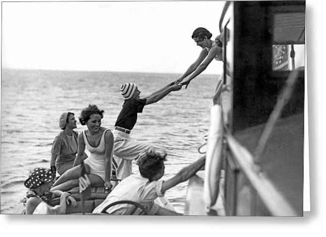 Boarding A Fishing Cruiser Greeting Card by Underwood Archives