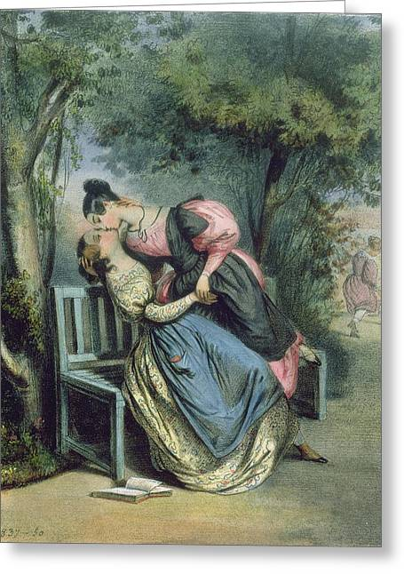 Lesbians Greeting Cards - Boarding School Friends, 1837 Greeting Card by French School