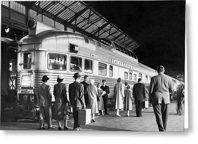 Boarding The California Zephyr Greeting Card by Underwood Archives