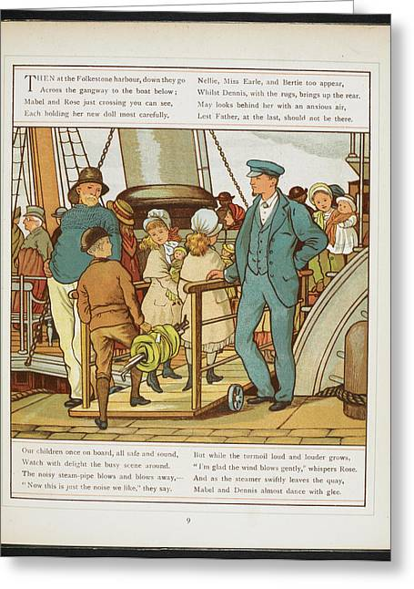 Boarding The Ship At Folkestone Harbour Greeting Card by British Library