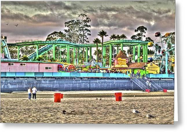 Santa Cruz Greeting Cards - Boardwalk and Amusement 4 Greeting Card by SC Heffner