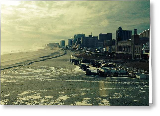 Atlantic Beaches Pyrography Greeting Cards - Boardwalk Atlantic City Greeting Card by Joseph Mari