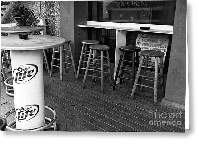 Seaside Heights Greeting Cards - Boardwalk Bar Seats mono Greeting Card by John Rizzuto