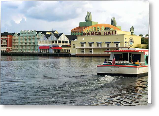 Wdw Greeting Cards - Boardwalk Boat Ride Walt Disney World Greeting Card by Thomas Woolworth
