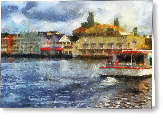 Hospital Theme Greeting Cards - Boardwalk Boat Ride WDW 02 Photo Art Greeting Card by Thomas Woolworth