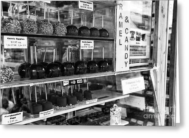 Seaside Heights Greeting Cards - Boardwalk Candy Apples mono Greeting Card by John Rizzuto