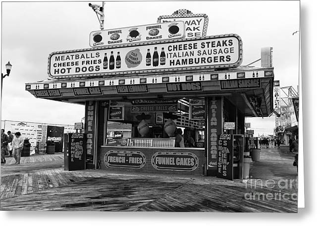 Fries Greeting Cards - Boardwalk Comfort mono Greeting Card by John Rizzuto