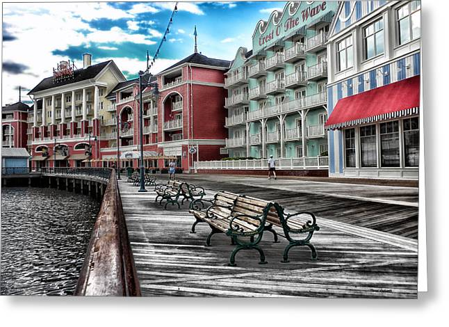 Disney Photographs Greeting Cards - Boardwalk Early Morning Greeting Card by Thomas Woolworth