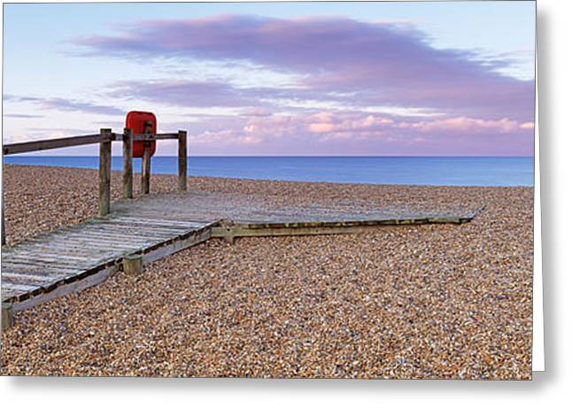 Boardwalk On The Beach At Dawn, Chesil Greeting Card by Panoramic Images