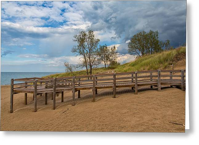 Indiana Flowers Greeting Cards - Boardwalk on the Beach at Lake Michigan Greeting Card by John Bailey