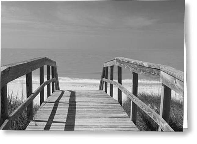 Gulf Of Mexico Scenes Greeting Cards - Boardwalk On The Beach, Gasparilla Greeting Card by Panoramic Images