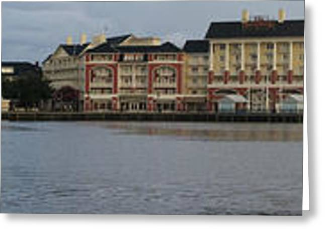 Photography By Thomas Woolworth Greeting Cards - Boardwalk Panorama Walt Disney World Greeting Card by Thomas Woolworth