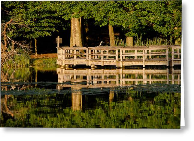 Hamlin Lake Greeting Cards - Boardwalk Reflections Greeting Card by Scott Gordon