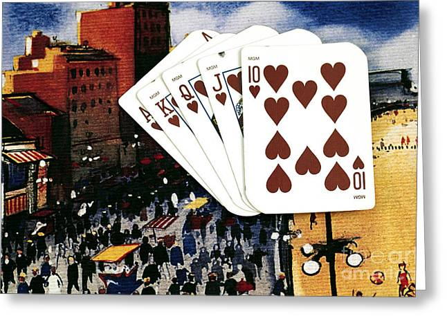Still Life Photographs Greeting Cards - Boardwalk Royal Hearts Greeting Card by John Rizzuto