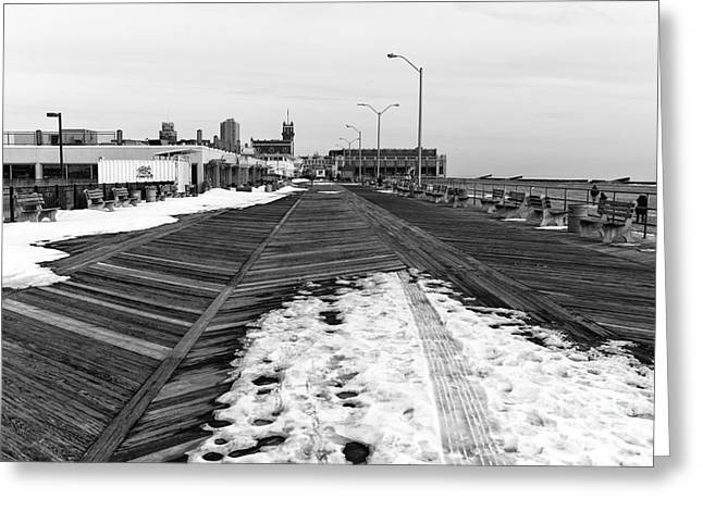 Convention Greeting Cards - Boardwalk Snow mono Greeting Card by John Rizzuto