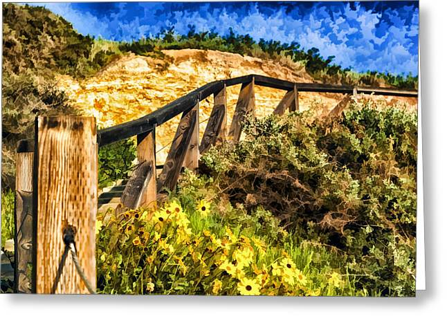 Wooden Stairs Greeting Cards - Boardwalk Steps Greeting Card by Anthony Citro