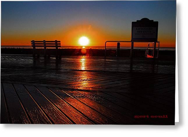 Surfer Magazine Digital Art Greeting Cards - Boardwalk sunrise Greeting Card by Geraldine Scull