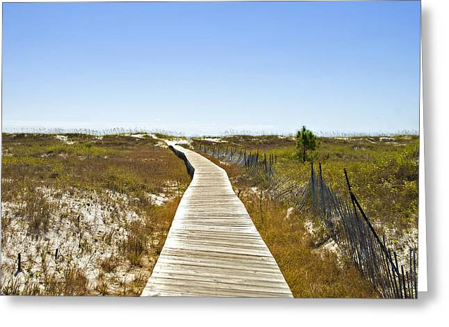 Boardwalk Greeting Card by Susan Leggett