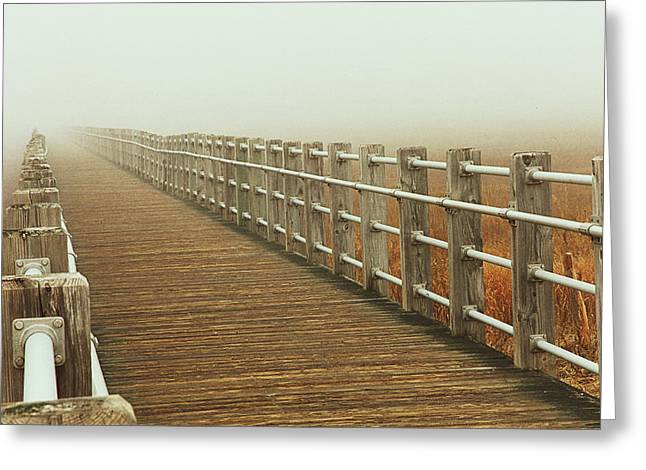 See Fog Greeting Cards - Boardwalk To The Unknown Greeting Card by Karol  Livote