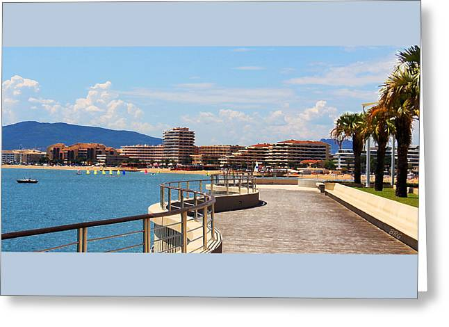 St. Raphael Greeting Cards - Boardwalk View In Saint-Rafael French Riviera Greeting Card by Ben and Raisa Gertsberg