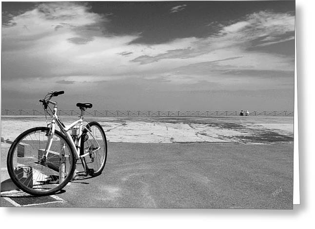 Panoramic Ocean Greeting Cards - Boardwalk View With Bike In Antibes France Black And White Greeting Card by Ben and Raisa Gertsberg