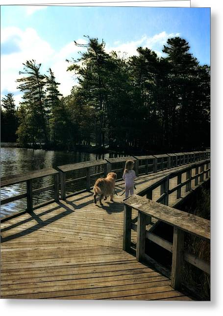 Dog Play Beach Greeting Cards - Boardwalking Greeting Card by Michelle Calkins