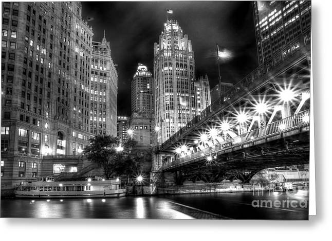 Best Sellers -  - Light And Dark Greeting Cards - Boat Along the Chicago River Greeting Card by Margie Hurwich