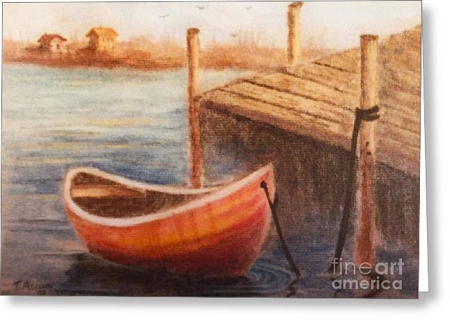 Dock Pastels Greeting Cards - Boat and Dock  Greeting Card by Teresa Ascone