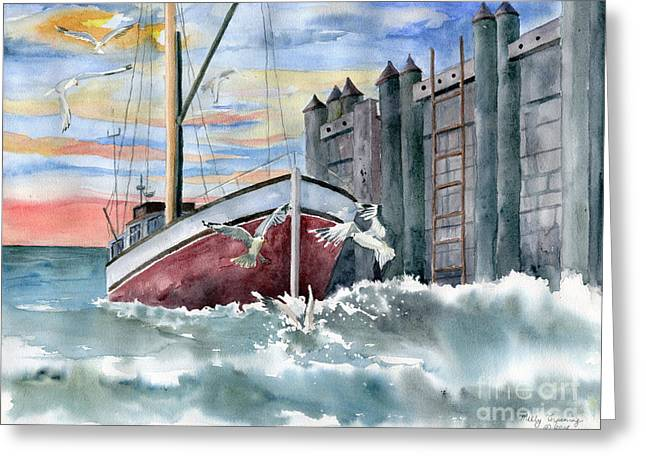 Boats At The Dock Greeting Cards - Boat and Gulls Greeting Card by Melly Terpening