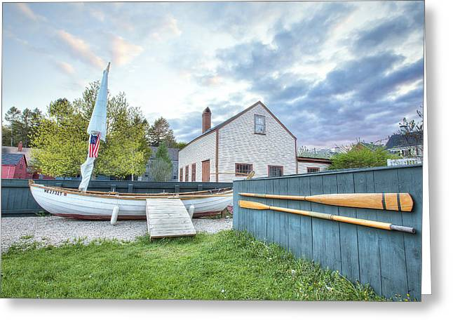 New England Village Scene Greeting Cards - Boat and Oars Greeting Card by Eric Gendron