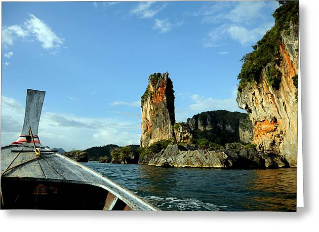 Boat And Rock Greeting Card by Money Sharma