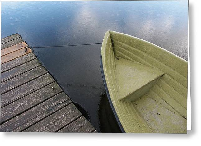 Landing Stage Greeting Cards - Boat and wooden pier - quiet and peaceful scenery Greeting Card by Matthias Hauser