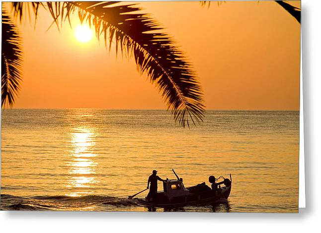 Water Vessels Pyrography Greeting Cards - Boat at sea Sunset golden color with palm Greeting Card by Raimond Klavins