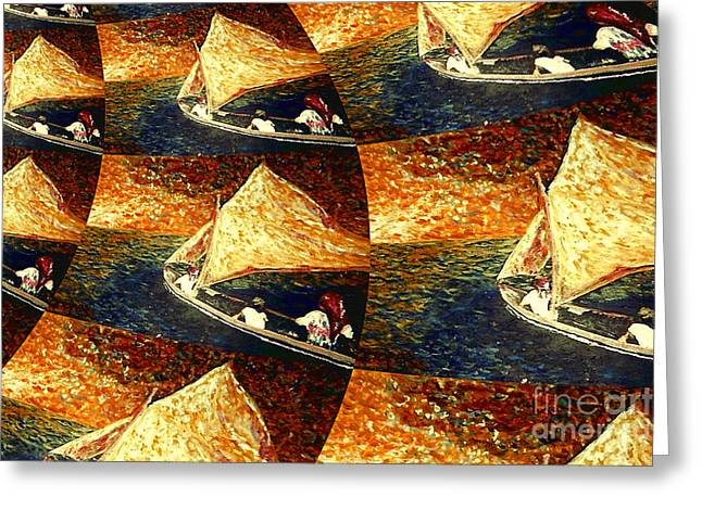 Beach Theme Abstract Greeting Cards - Boat at Sea- TWO Greeting Card by Kevin J Cooper Artwork