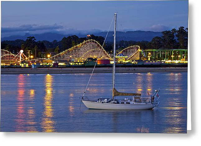 Santa Cruz Pier Greeting Cards - Boat At Twilight Greeting Card by SC Heffner