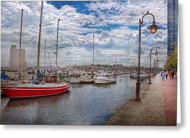 Infinite Art Greeting Cards - Boat - Baltimore MD - One fine day in Baltimore  Greeting Card by Mike Savad