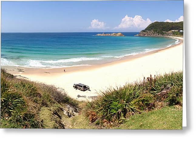 Fishing Boats Greeting Cards - Boat Beach Seal Rocks Panorama NSW Australia Greeting Card by Leah-Anne Thompson
