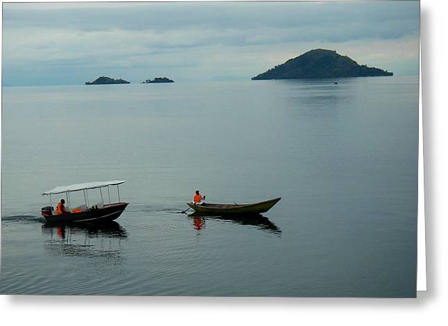 Geobob Greeting Cards - Boat Bethanie Inn Kibuye Western Lake Kivu Rwanda Greeting Card by Robert Ford