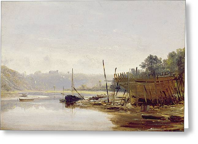 Beach Landscape Greeting Cards - Boat Building Near Dinan, Brittany, C.1838 Oil On Paper On Panel Greeting Card by Francis Danby