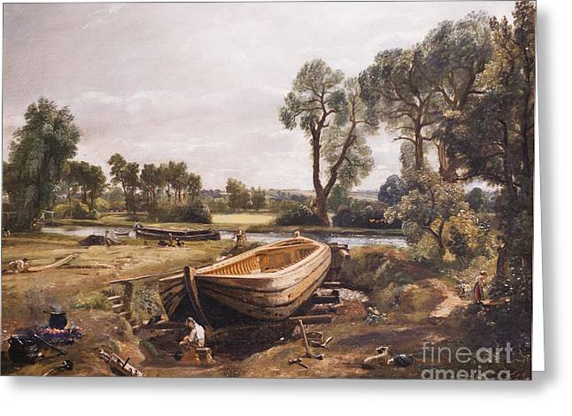 Constable Greeting Cards - Boat building near Flatford Mill by John Constable Greeting Card by Roberto Morgenthaler