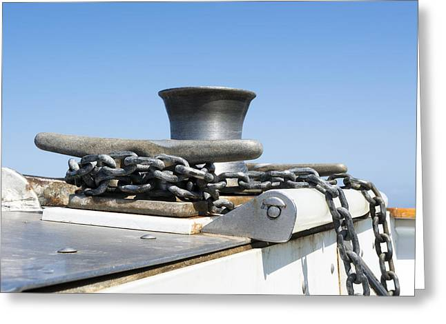 Boat Hardware Greeting Cards - Boat cleat and chain Greeting Card by Joe Belanger