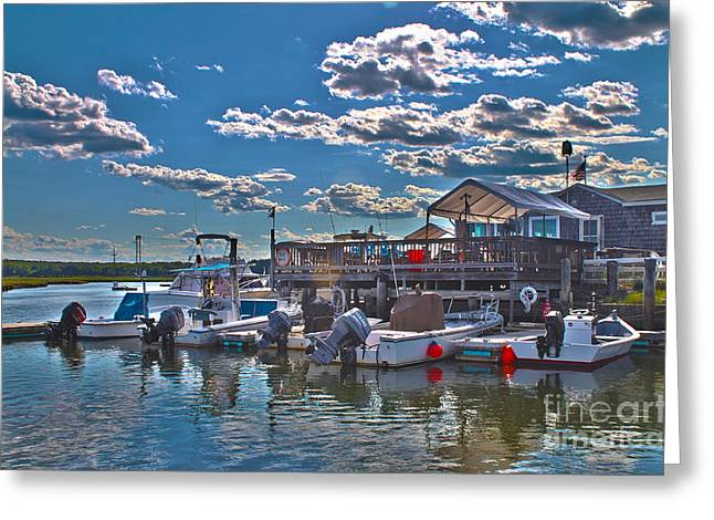 Sea Platform Greeting Cards - Boat club in Hampton-HDR Greeting Card by Claudia Mottram