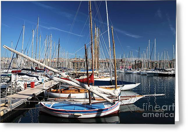 Sailboat Photos Greeting Cards - Boat Day in the Port Greeting Card by John Rizzuto
