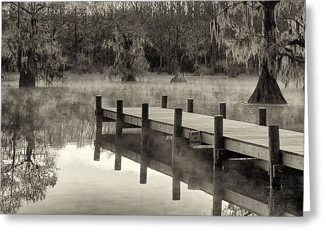 """caddo Lake"" Greeting Cards - Boat Dock Caddo Lake Greeting Card by Mary Lee Dereske"