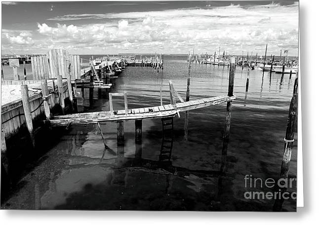 Boat Dock Greeting Card by John Rizzuto